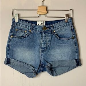 One Teaspoon Chargers Button-Fly Blue Jean Shorts